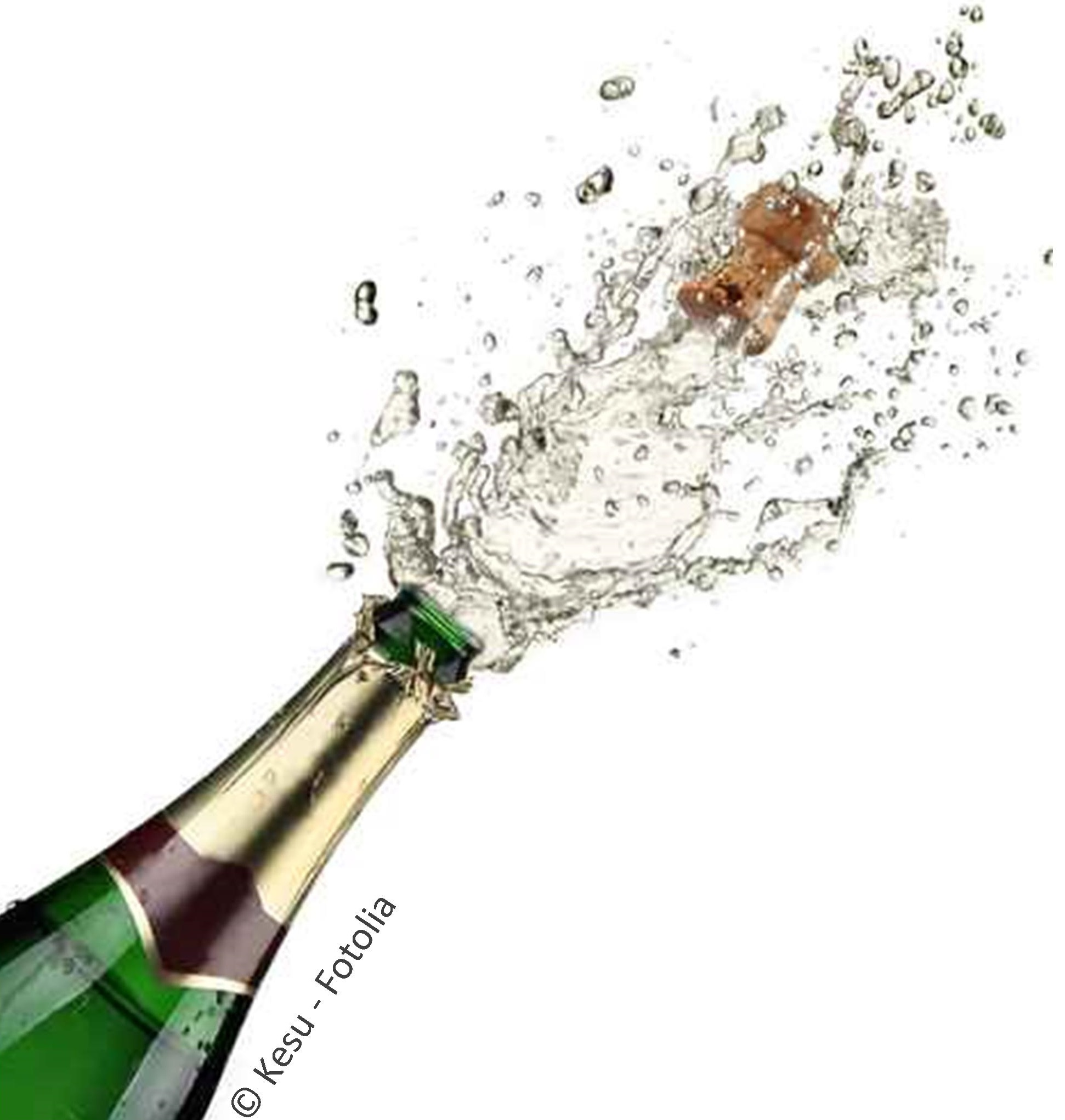 Champagne bottle with copyright
